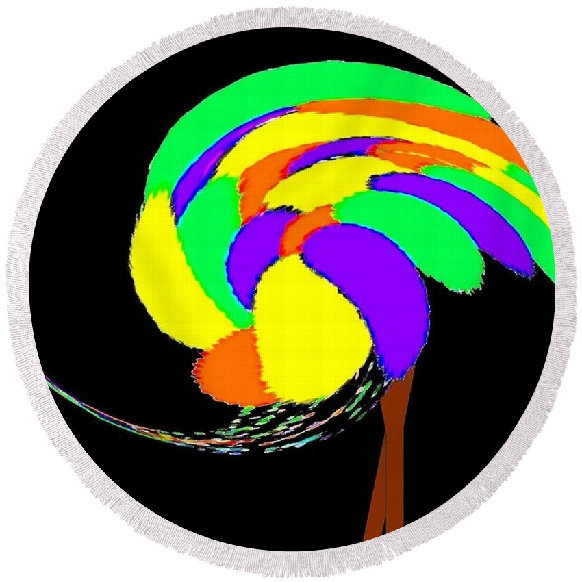 Abstract Round Beach Towel featuring the digital art Olive The Ostrich by Will Borden