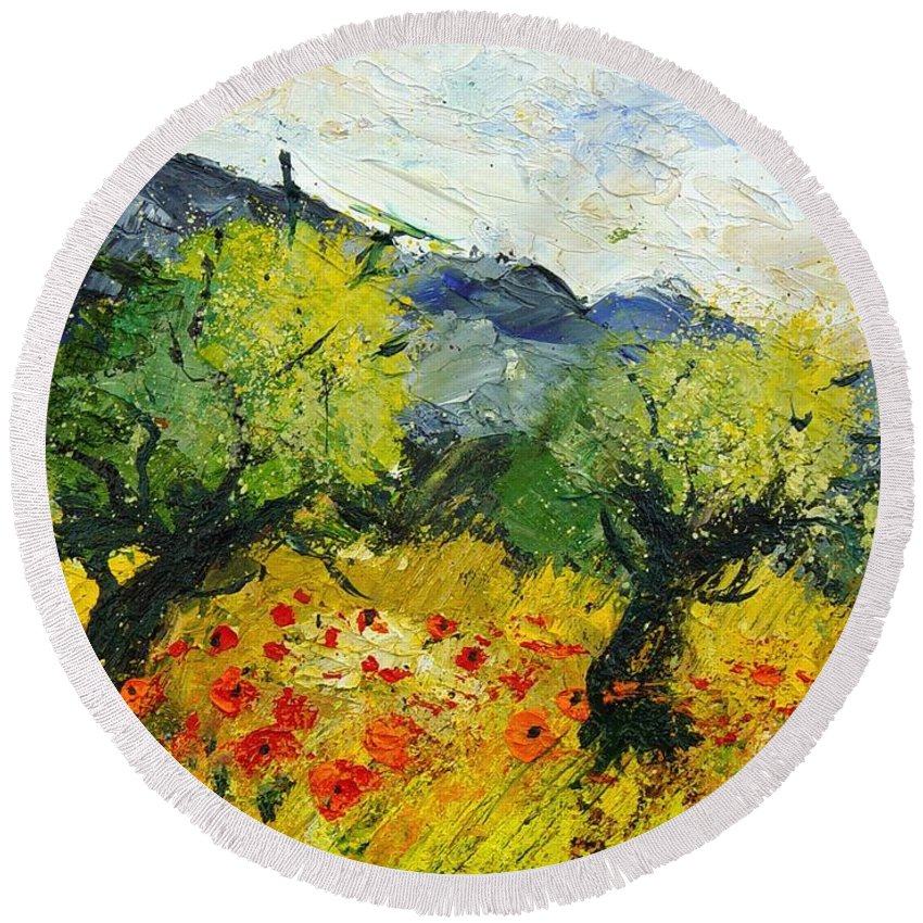 Flowers Round Beach Towel featuring the painting Olive Trees And Poppies by Pol Ledent