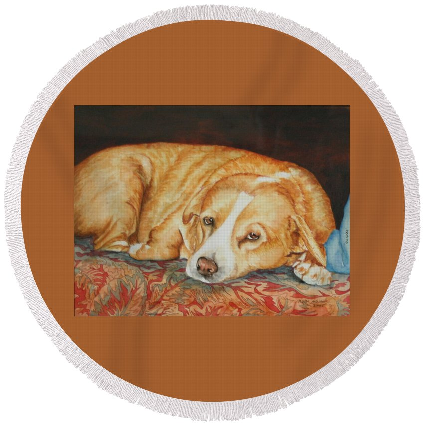 Dog Portrait Round Beach Towel featuring the painting Oliver by Ayal Armon