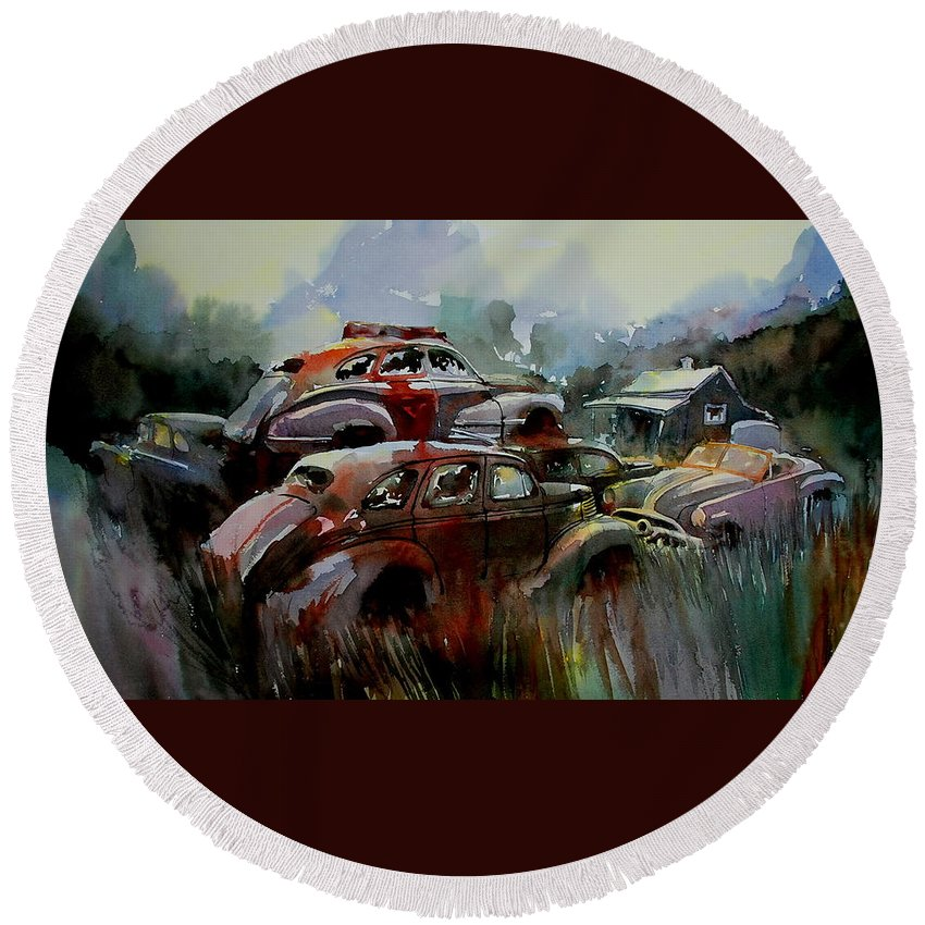 Chevies Round Beach Towel featuring the painting Oliver Stacks by Ron Morrison