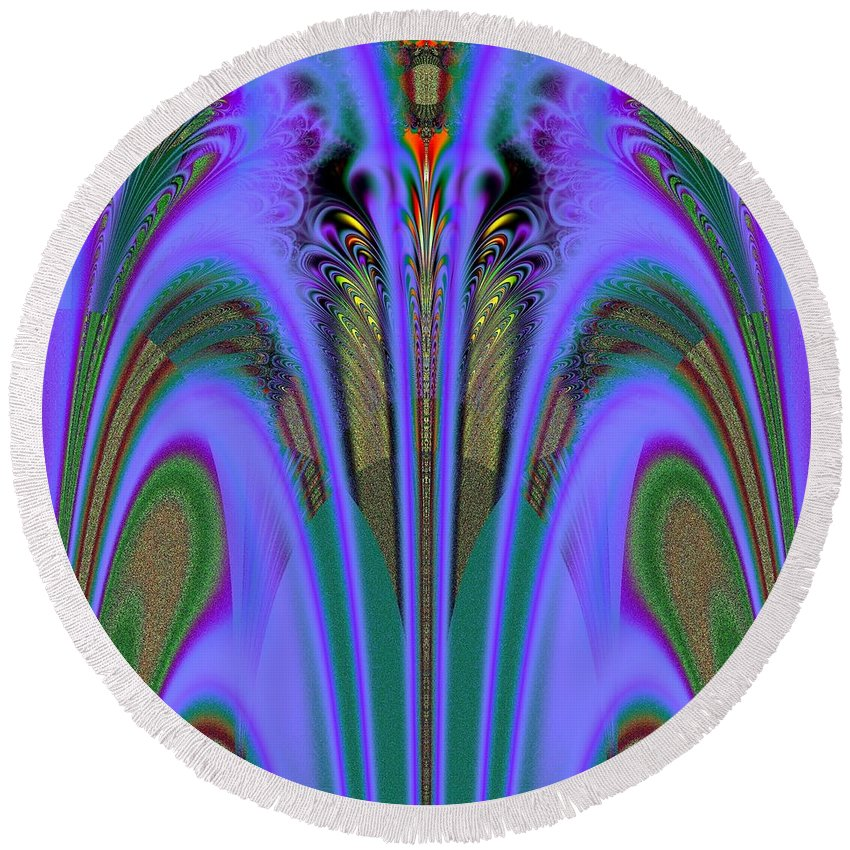 Olympic Torch And Fireworks Fractal Round Beach Towel featuring the digital art Olympic Torch And Fireworks Fractal 162 by Rose Santuci-Sofranko
