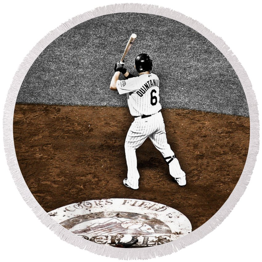 Baseball Round Beach Towel featuring the photograph Omar Quintanilla Pro Baseball Player by Marilyn Hunt