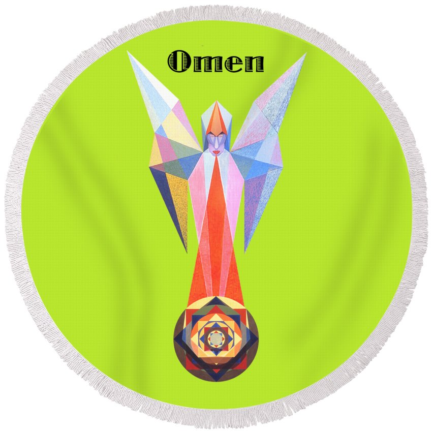 Painting Round Beach Towel featuring the painting Omen text by Michael Bellon