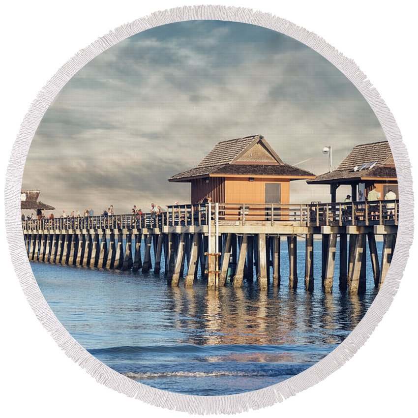 Pier Round Beach Towel featuring the photograph On A Cloudy Day At Naples Pier by Kim Hojnacki