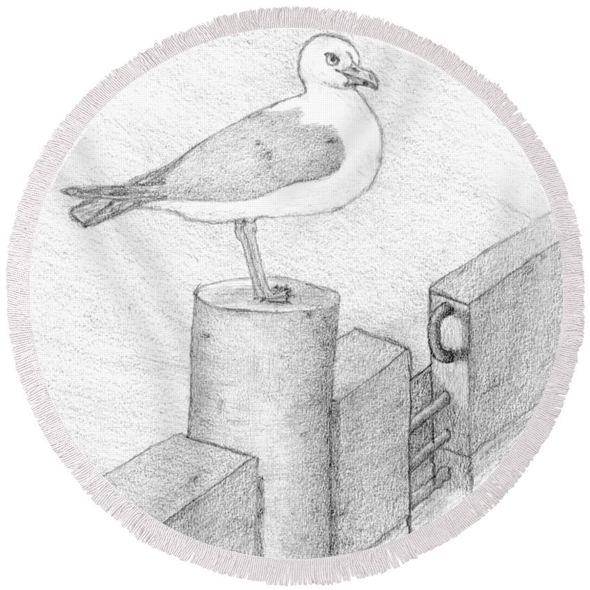 Selinda Round Beach Towel featuring the drawing On A Perch by Selinda Van Horn