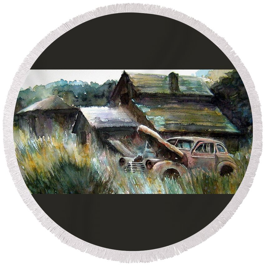 Car Barn Trees Round Beach Towel featuring the painting On Borrowed Time by Ron Morrison