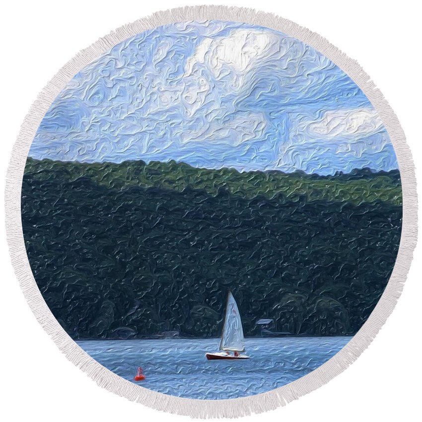 Landscape Round Beach Towel featuring the photograph On Cayuga Lake by David Lane