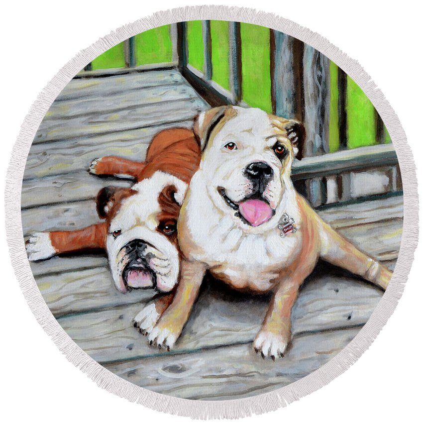 Bull Dogs Round Beach Towel featuring the painting On Deck by Brian Stone