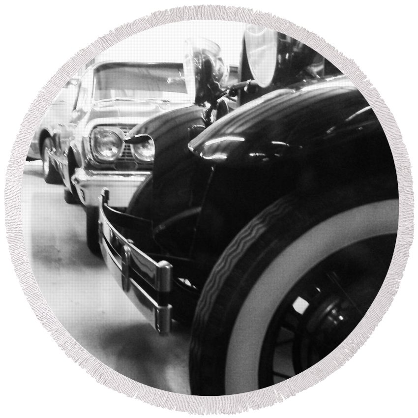 Vintage Cars Round Beach Towel featuring the photograph On Display by Kimberly Reeger