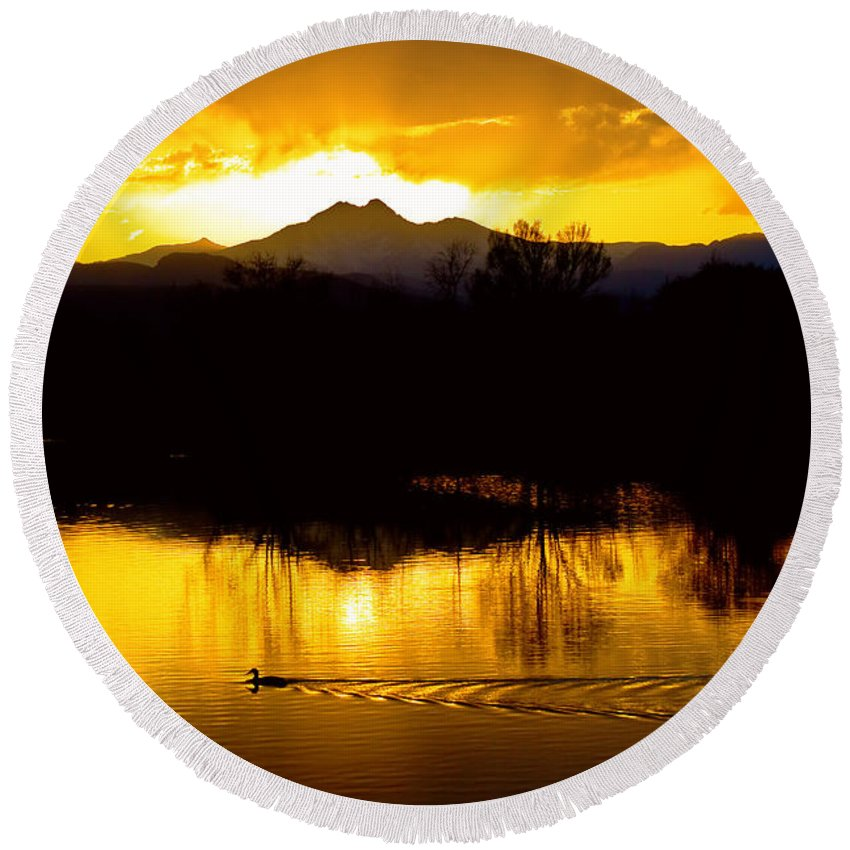 Sunset Round Beach Towel featuring the photograph On Golden Ponds by James BO Insogna