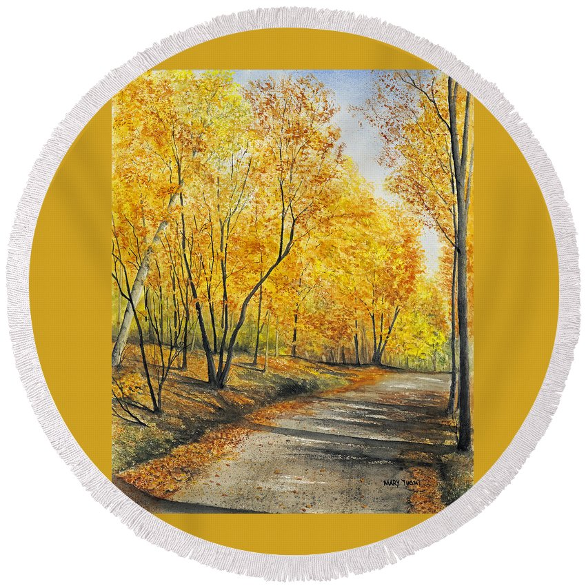 Autumn Round Beach Towel featuring the painting On Golden Road by Mary Tuomi