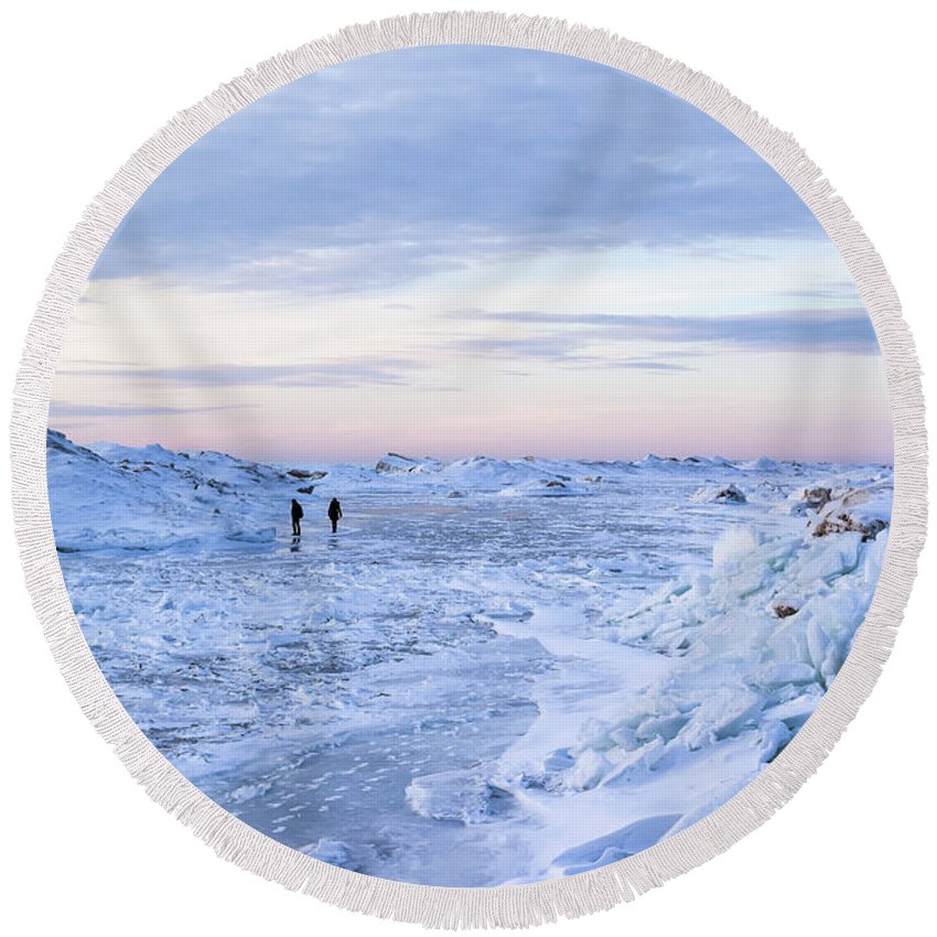 Lake Michigan Round Beach Towel featuring the photograph On Lake Michigan Ice by Charles Norkoli