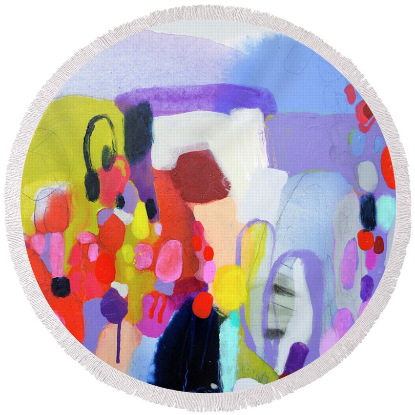 Abstract Round Beach Towel featuring the painting On My Mind by Claire Desjardins