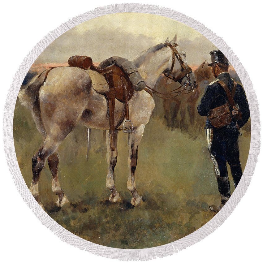 Josep Cusachs Round Beach Towel featuring the painting On Patrol In The Country by Josep Cusachs