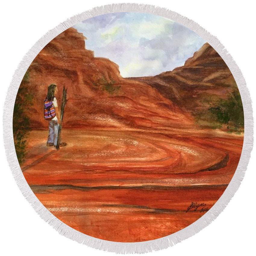 Sedona Round Beach Towel featuring the painting Sedona - On Sacred Ground by Ellen Levinson