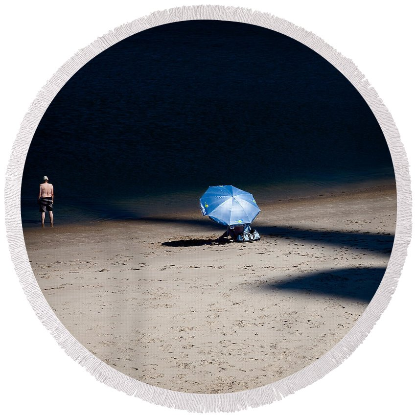 Beach Round Beach Towel featuring the photograph On The Beach by Dave Bowman