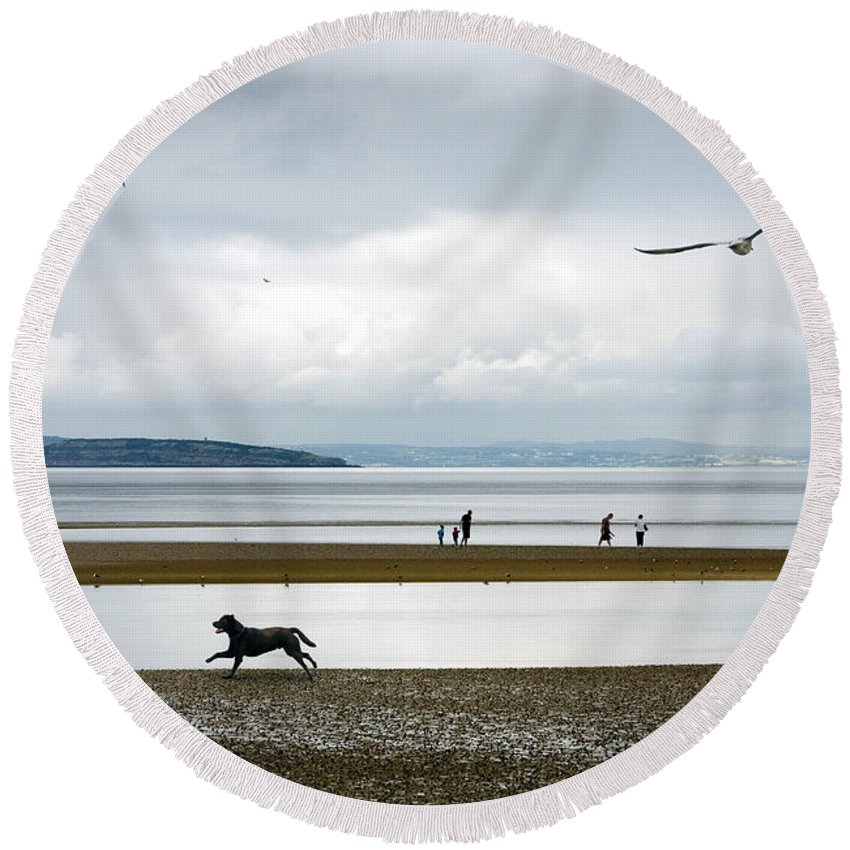 Beach Round Beach Towel featuring the photograph On The Beach by Mal Bray