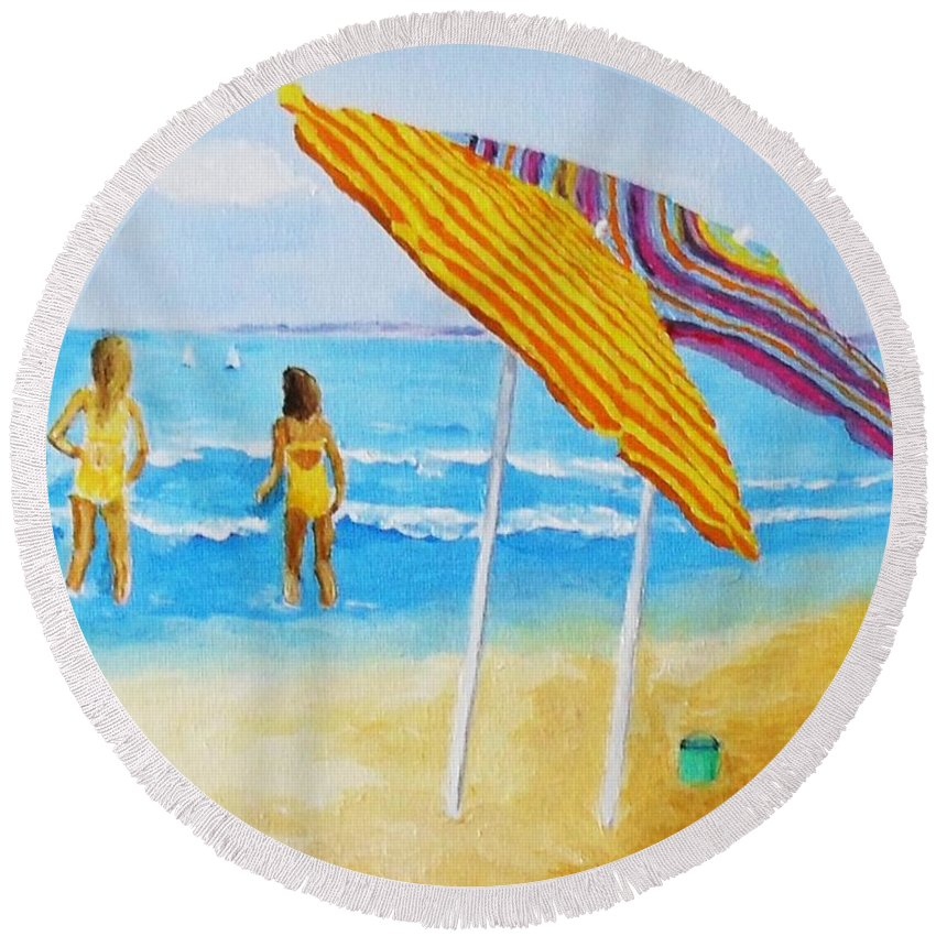 Beach Round Beach Towel featuring the painting On The Beach by Rodney Campbell