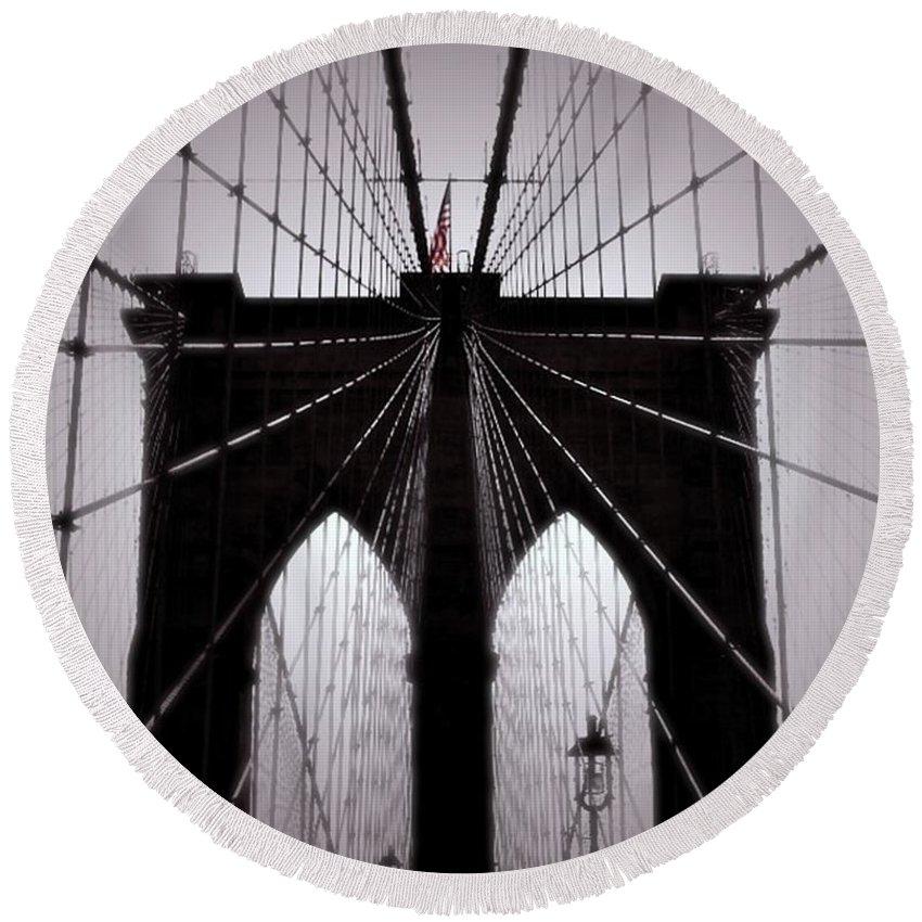 Brooklyn Bridge Round Beach Towel featuring the photograph On The Bridge by Anne McDonald