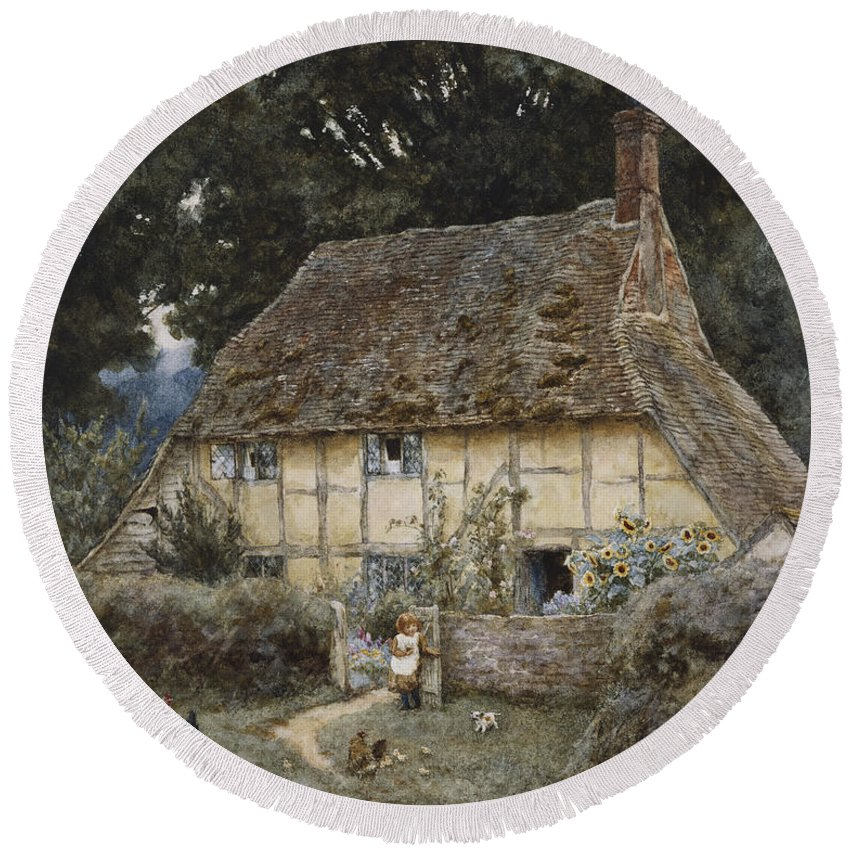 English; Landscape; Cottage; Path; Garden; Half-timbered; Wood;woods; Chickens; Rural; Child;f Eeding; C19th; C20th; Victorian Round Beach Towel featuring the painting On The Brook Road Near Witley by Helen Allingham