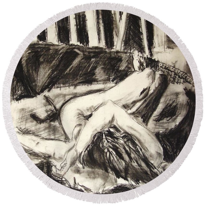 Inclined Nude Round Beach Towel featuring the drawing On The Divan by Ron Bissett