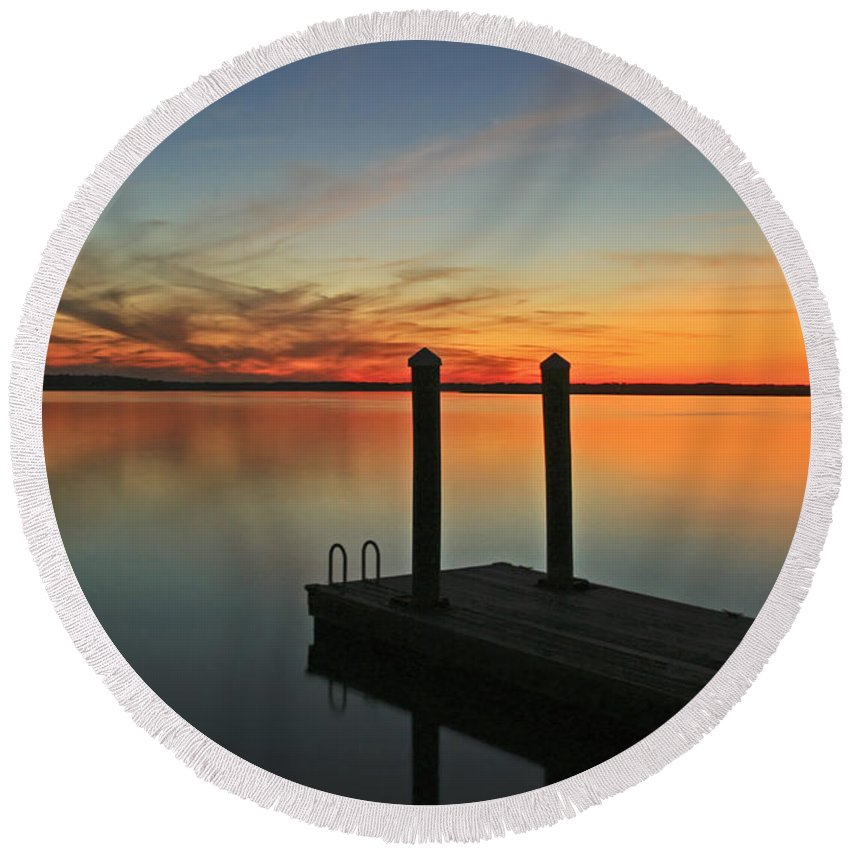 Sunset Round Beach Towel featuring the photograph On The Dock by Phill Doherty