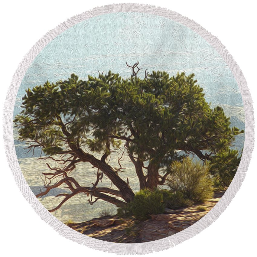 Tree Round Beach Towel featuring the photograph On The Edge by Mykel Davis