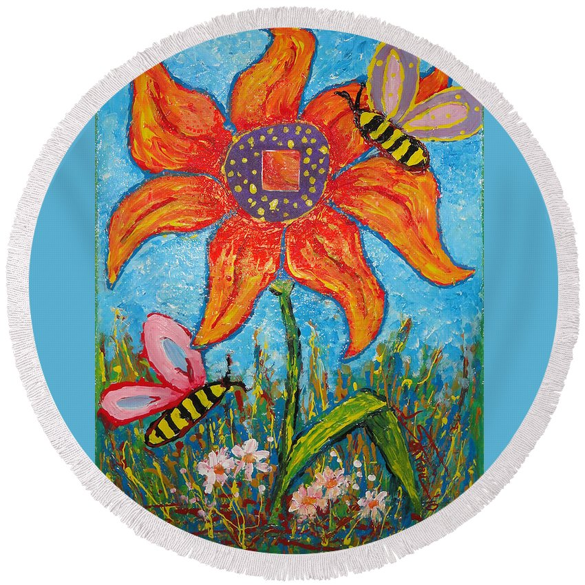 Landscape Round Beach Towel featuring the painting On The Flower by Ioulia Sotiriou