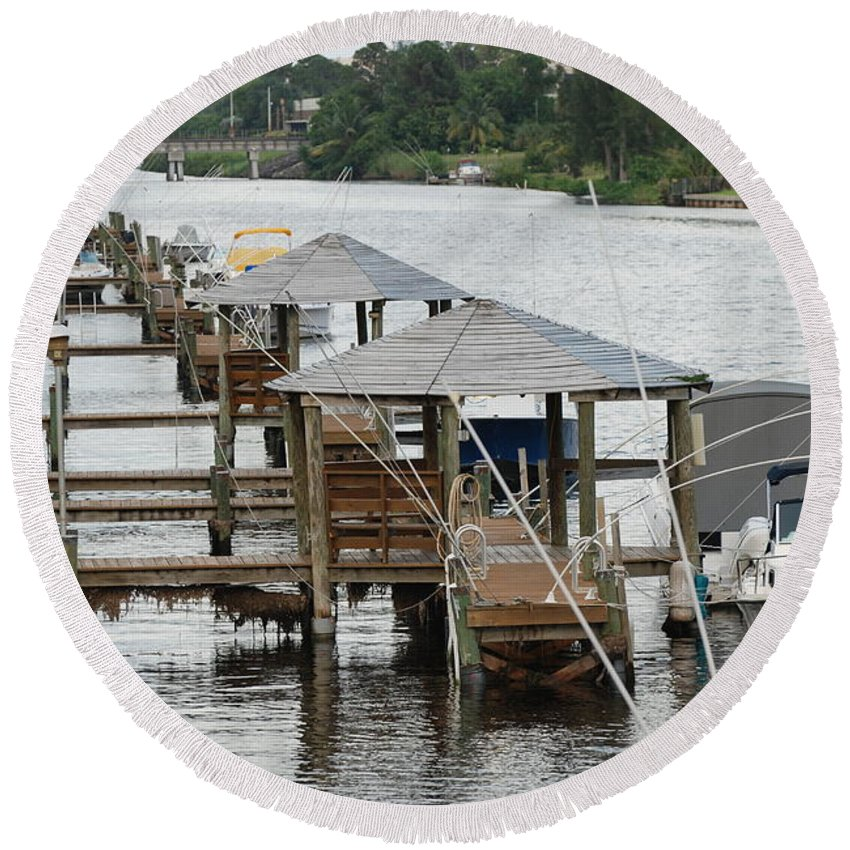 Boats Round Beach Towel featuring the photograph On The Hillsboro Canal by Rob Hans