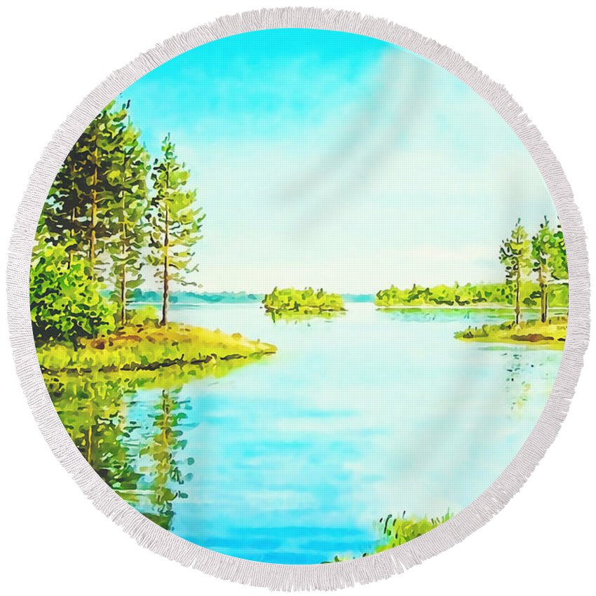 Lake Round Beach Towel featuring the painting On The Lake In A Sunny Day 2 by Anton Kalinichev