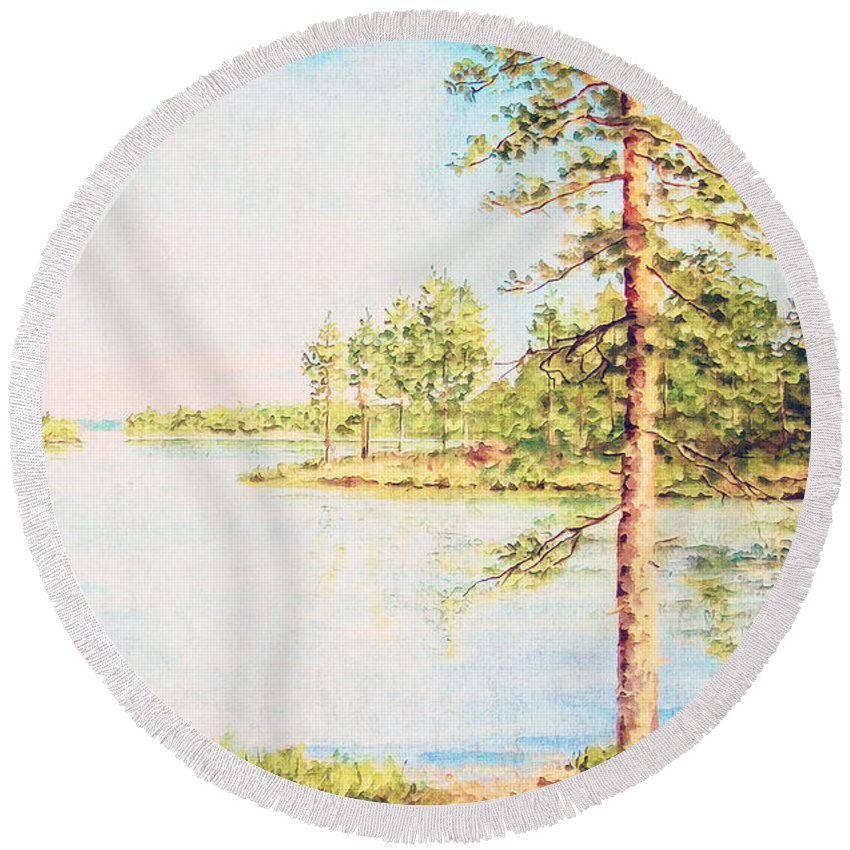 Lake Round Beach Towel featuring the painting On The Lake In A Sunny Day by Anton Kalinichev