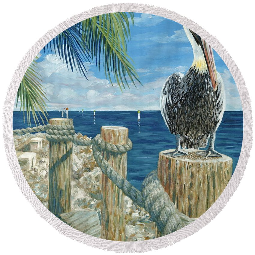 Key Largo Round Beach Towel featuring the painting On The Lookout by Danielle Perry