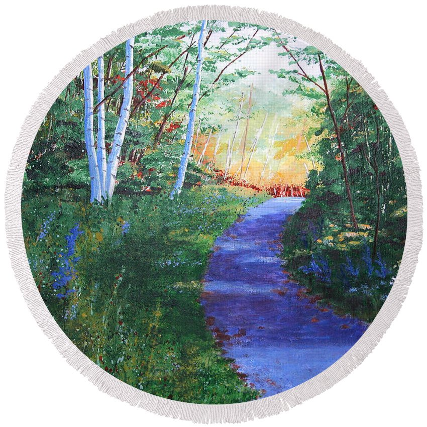 Pathway Round Beach Towel featuring the painting On The Path by Lynn Quinn