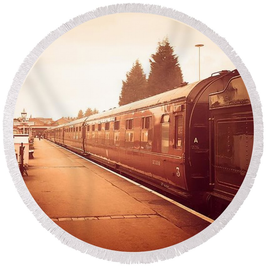 Train Round Beach Towel featuring the photograph On The Platform by Lisa Byrne