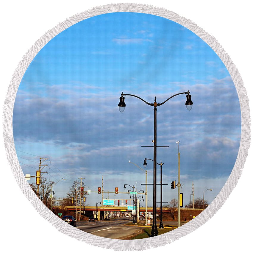 Landscape Round Beach Towel featuring the photograph On The Road Agan by Don Baker