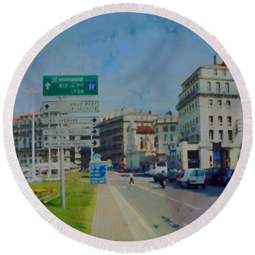 Aix Round Beach Towel featuring the photograph On The Road To Aix by Paulette B Wright