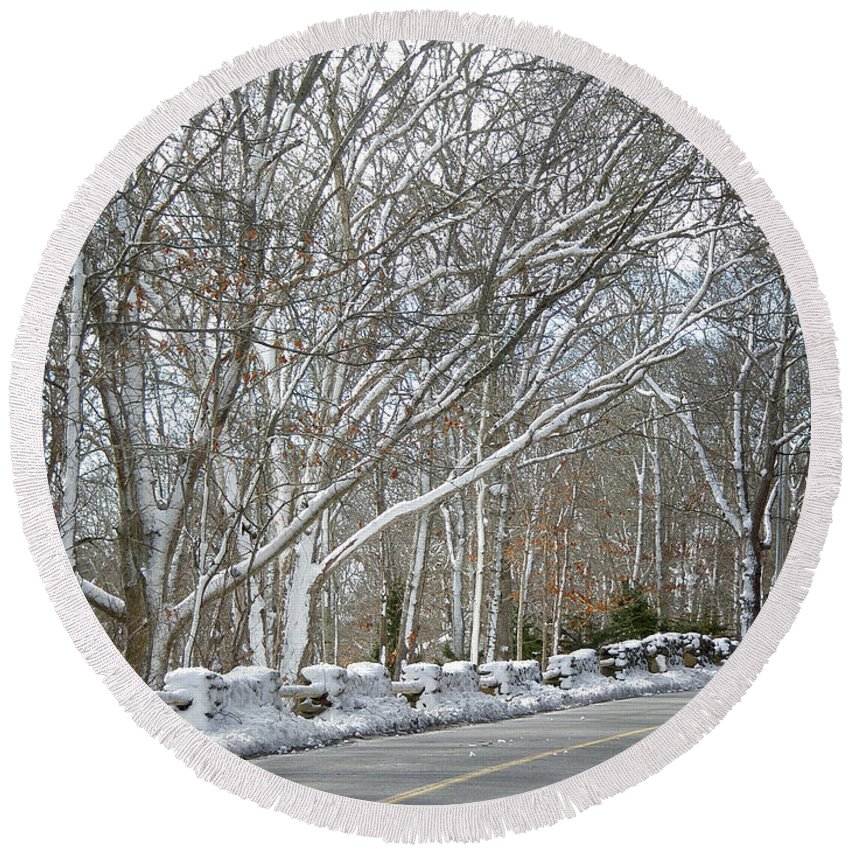 Winter Round Beach Towel featuring the photograph On The Road To Woods Hole by Mother Nature
