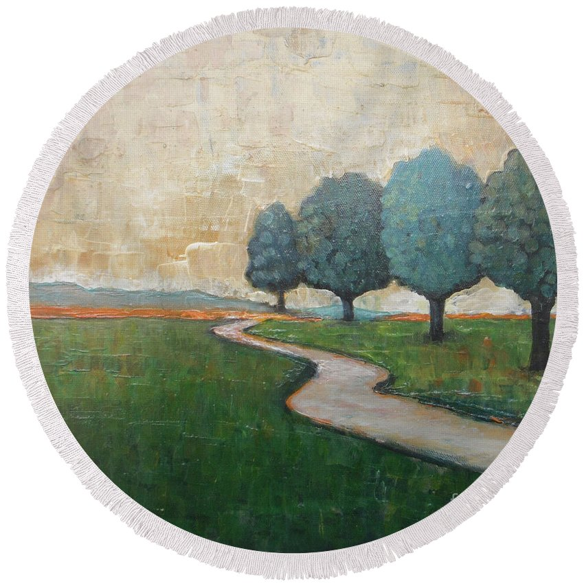 Abstract Landscape Round Beach Towel featuring the painting On The Rural Road by Vesna Antic