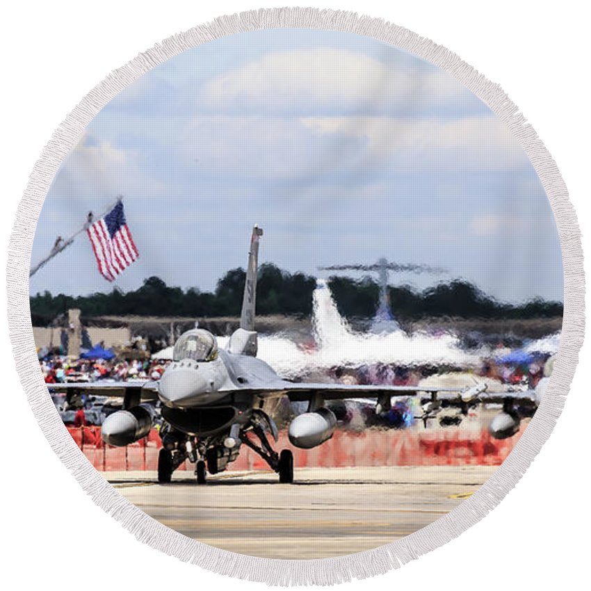 Airshow Round Beach Towel featuring the photograph On The Taxiway by Charles Hite