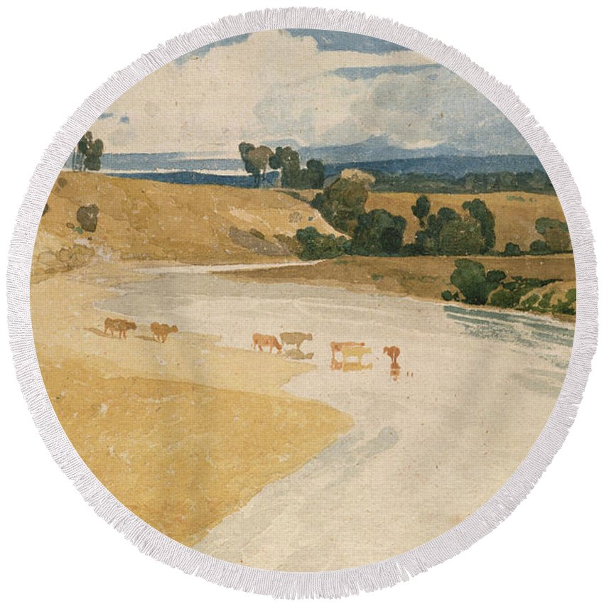 Watercolor Round Beach Towel featuring the painting On The Tees At Rockcliffe by John Sell Cotman