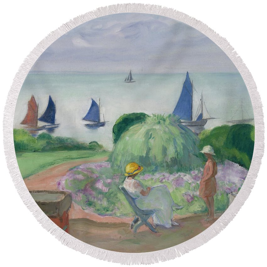 Henri Round Beach Towel featuring the painting On The Terrace At Prefailles by Henri Lebasque