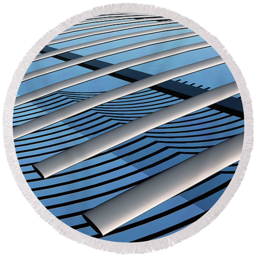 Abstract Round Beach Towel featuring the digital art On The Verge by Richard Rizzo