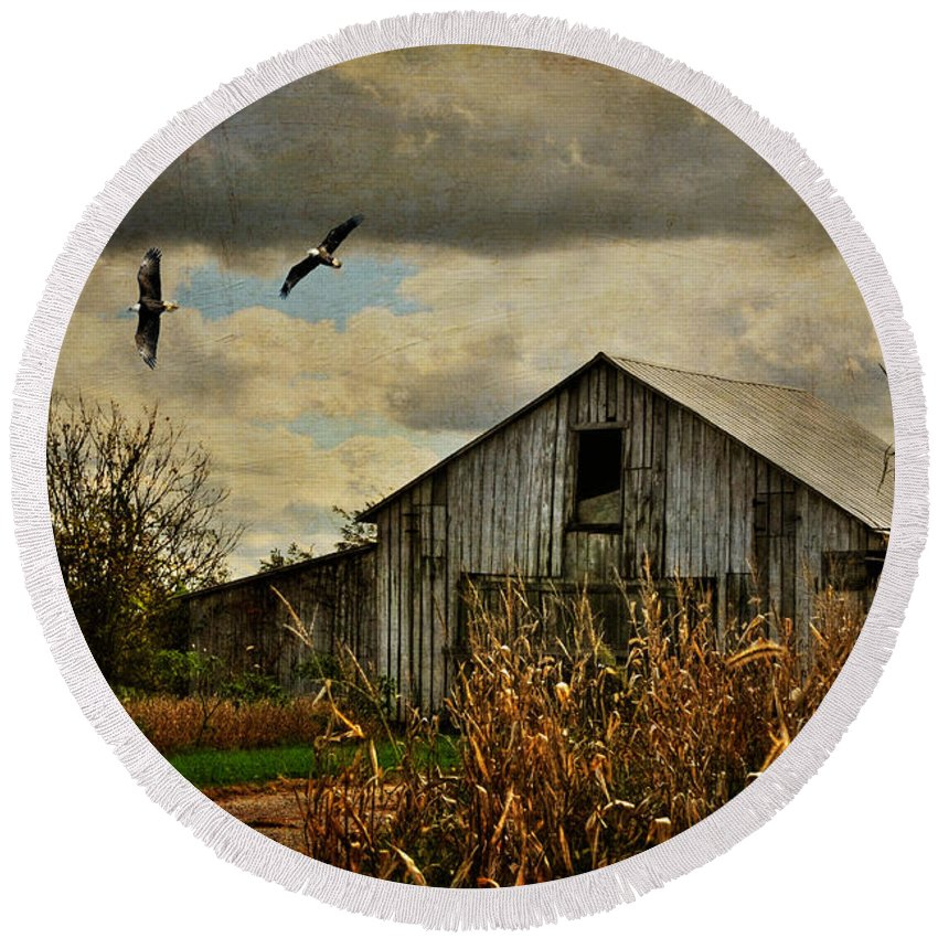 Barn Round Beach Towel featuring the photograph On The Wings Of Change by Lois Bryan