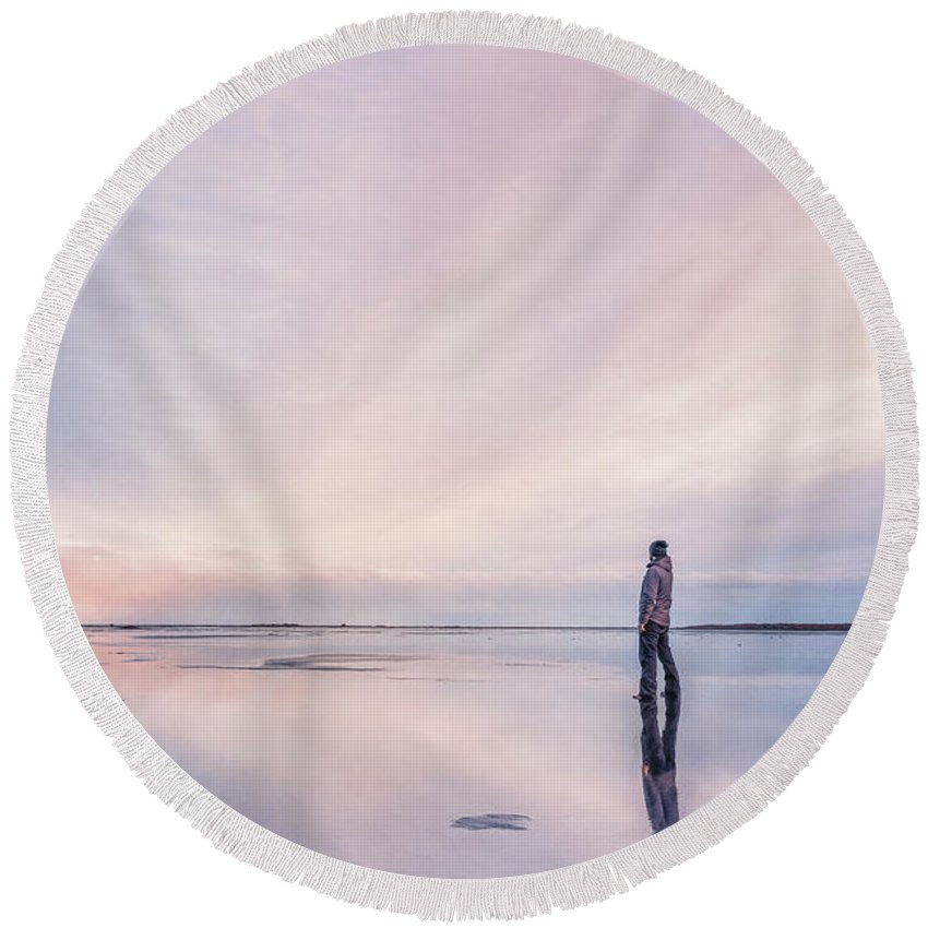 Kremsdorf Round Beach Towel featuring the photograph On The Wings Of Light by Evelina Kremsdorf