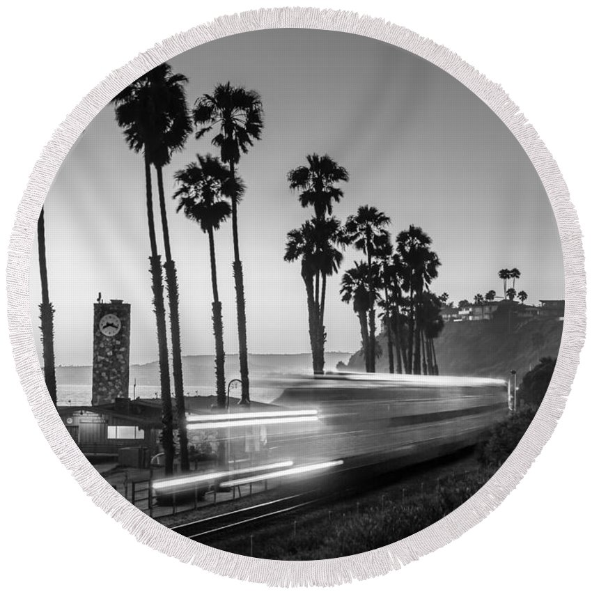 Beach Round Beach Towel featuring the photograph On Time Black And White by Scott Campbell