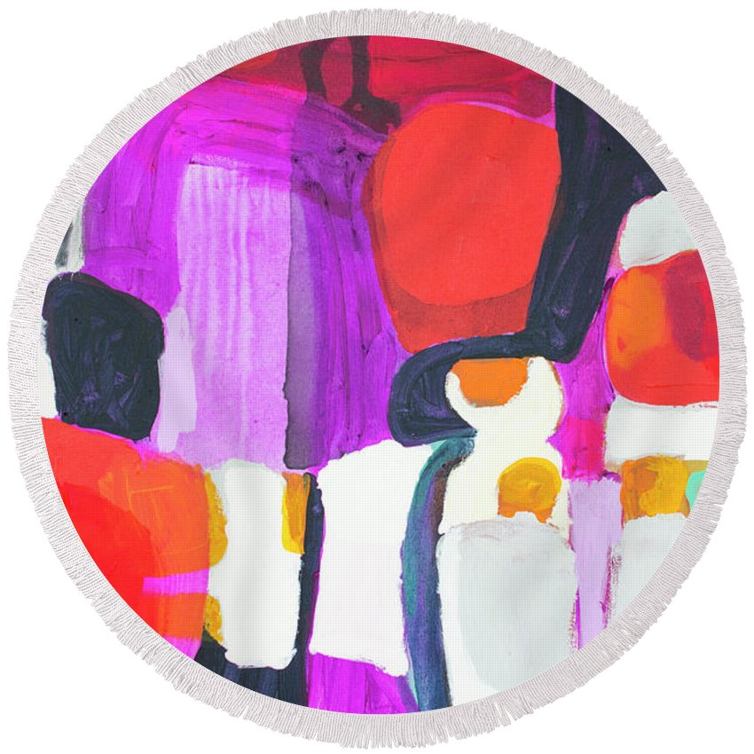 Abstract Round Beach Towel featuring the painting On Time by Claire Desjardins