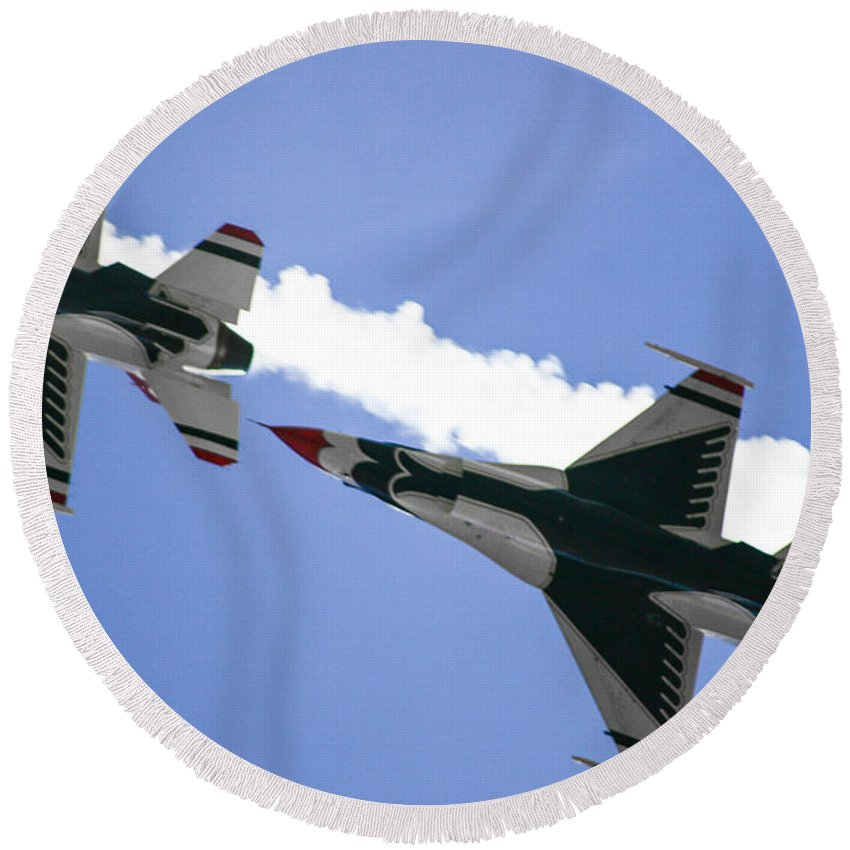 Air Force Round Beach Towel featuring the photograph On Your Six by Chandra Nyleen