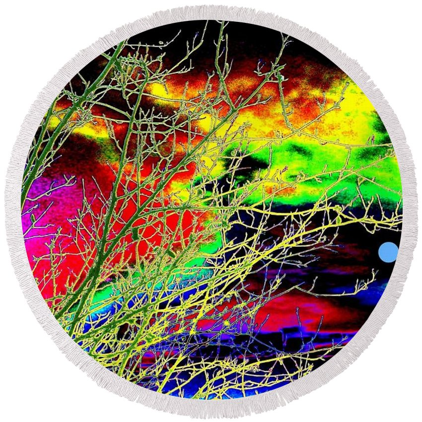 Dramatic Round Beach Towel featuring the digital art Once In A Blue Moon by Will Borden