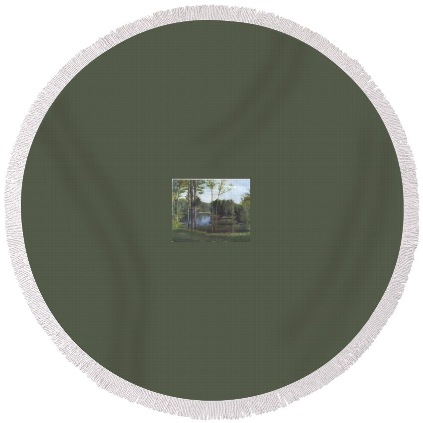 Landscape Round Beach Towel featuring the painting Once by Sheila Mashaw