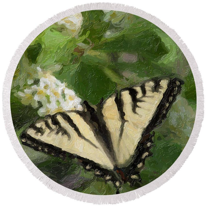 Swallowtail Round Beach Towel featuring the painting Once There Was A Butterfly by C L Lassila